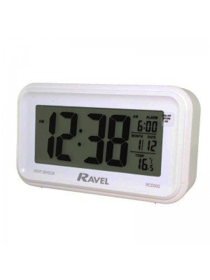 Wholesale Ravel Digital Display Alarm Clock with Temperature and Calendar - Black and White