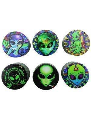 "4-Part Half Baked Mini ""Alien"" Design Metal Grinder - Assorted"