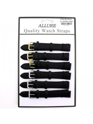 Wholesale Allure 2x Extra Long Leather Watch Straps - Assorted Buckle - 18mm (Black)