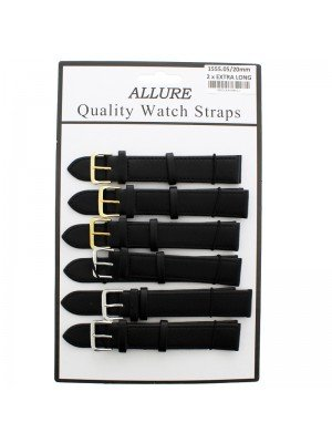 Wholesale Allure 2x Extra Long Leather Watch Straps - Assorted Buckle - 20mm (Black)