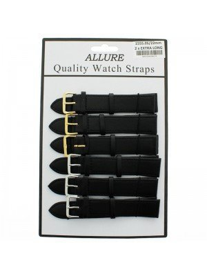Wholesale Allure 2x Extra Long Leather Watch Straps - Assorted Buckle - 22mm (Black)