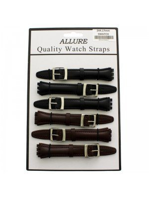 Wholesale Allure Plain Leather Watch Straps - Assorted Colours - 17mm (Black)