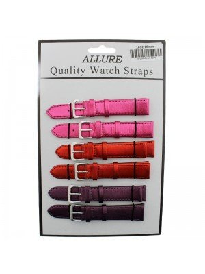 Allure Leather Metallic Watch Straps - Assorted Colours - 18mm