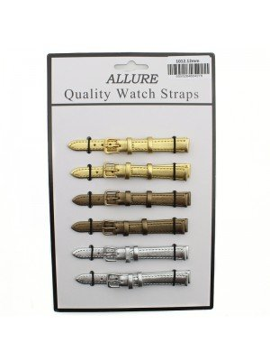 Allure Leather Watch Straps - Assorted Buckles & Colours - 12mm