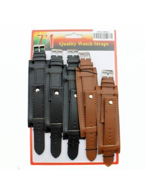 Allure Military Style Leather Watch Straps - Asst. Colours - 18mm