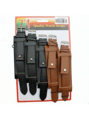 Allure Military Style Leather Watch Straps - Asst. Colours - 20mm