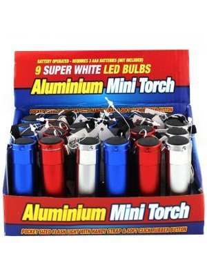 Wholesale Aluminium Mini Torch 9 Super White LED Bulbs - Assorted Colours