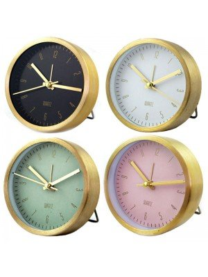 Wholesale Aluminium Quartz Table Alarm Clock - Assorted Colours