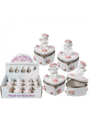 Angels on Heart Box Rose Decor- Assorted Designs