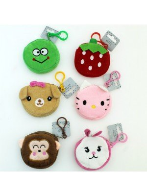 Animal and Fruit Purse with on a plastic lobster clip- Assorted Designs