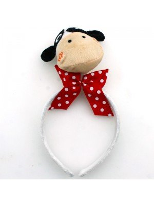 Animal Headband - Cow Head With Red Bow