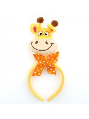 Animal Headband - Giraffe Head With Orange Bow