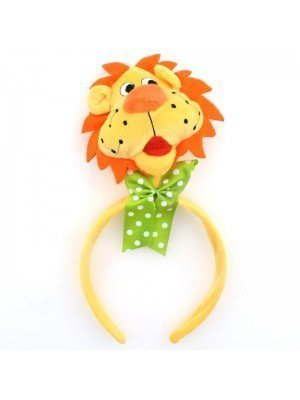 Animal Headband - Lion Head With Green Bow