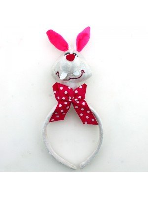 Animal Headband - Rabbit Head With Pink Bow