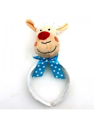 Animal Headband - Sheep Head With Light Blue Bow
