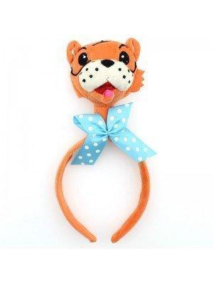 Animal Headband - Tiger Head With Blue Bow