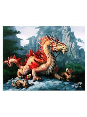 Anne Stokes Golden Mountain Dragon Picture Canvas