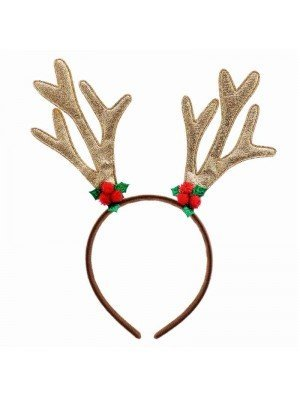 Wholesale Adult Gold Glitter Reindeer Antler Aliceband (Christmas Celebrations)