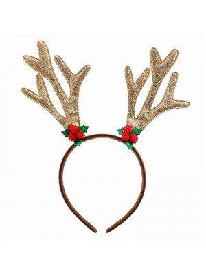 Wholesale Adult Gold Glitter Reindeer Antler Aliceband (Christmas Celebrations)