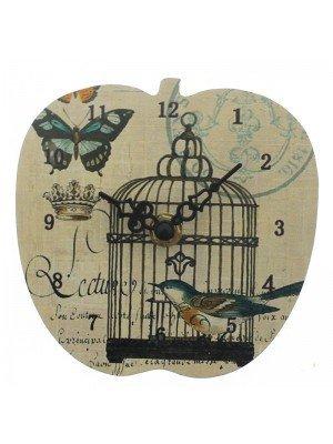 Apple Shape MDF Mini Clock - Bird Cage Design