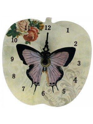 Apple Shape MDF Mini Clock - Butterfly Design
