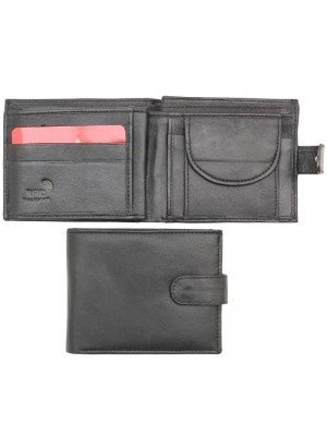 Wholesale Men's Bi-Fold RFID Leather Wallet With Closure Button - Black