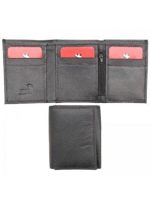 Wholesale Men's Tri-Fold RFID Leather Wallet - Black