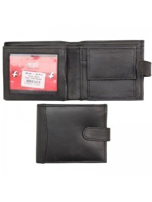 Wholesale Men's RFID Leather Wallet With Closure Button - Black