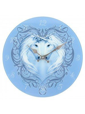 Unicorn Heart Glass Wall Clock - by Anne Stokes