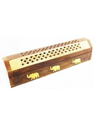 Wholesale Wooden Incense Stick Box With Brass Inlay Elephant Design 10""