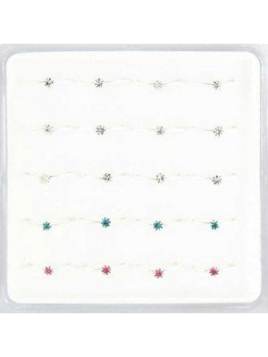 Wholesale Sterling Silver Claw Set Gem Nose Rings-10mm