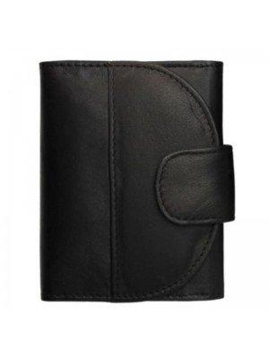 Ladies Folding Leather Purse - Black