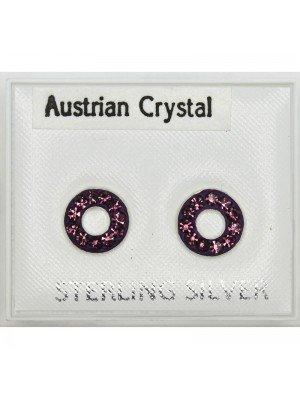 Austrian Crystal Circle Studs - Asst. Colours (8mm)