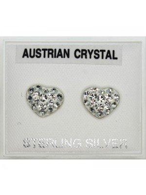 Austrian Crystal Diamante Heart Studs(5mm)
