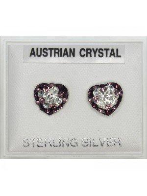 Austrian Crystal Heart Asst Colour Studs 5mm