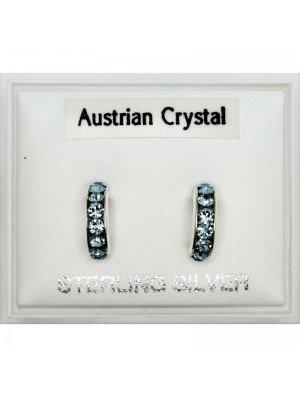 Austrian Crystal Semi Hoop Earrings Assorted - 9mm