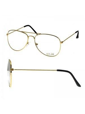 Aviator Glasses - Clear Lens (Gold Frame)
