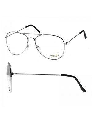 Aviator Glasses - Clear Lens (Silver Frame)