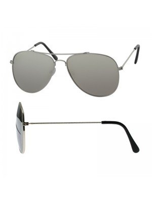 Aviator Sunglasses - Silver Frame (Black Lens)