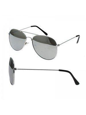 Aviator Sunglasses With Black Lens (Silver Frame)