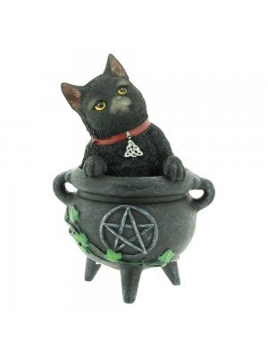 Smudge Black Cat Figurine in Cauldron 12cm