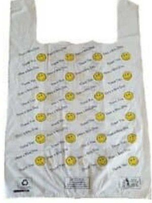 Wholesale Thank You & Have a Nice Day Smiley Emoji Carrier Bag 21 x 11""