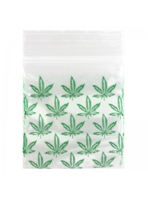 Zipper Grip Seal Baggies - Green Leaf (30x30mm)