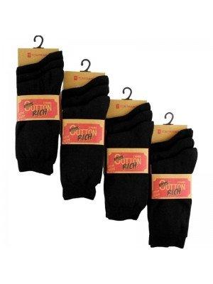 Wholesale Ladies Black Cotton Rich Lycra Socks - Tom Franks (3 Pair Pack)