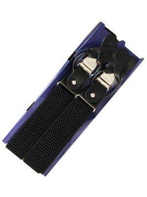 Basket Weave Black Buttoned Braces 35mm