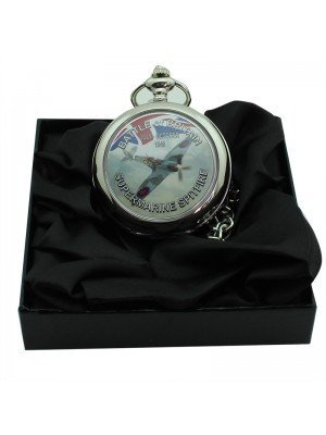 Battle of Britain Spitfire Pocket Watch with Chain - Silver