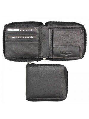 Wholesale Biggs & Bane Men's RFID Leather Zip Closure Wallet - Black