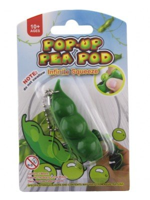 Wholesale Pop-Up Squeeze-a-Bean Pea Pod Fidget Keychain
