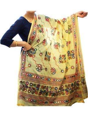 Wholesale Ladies Pure Cotton Aari Embroidery & Foil Mirrors Dupatta - Beige
