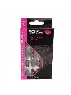 wholesale Royal Cosmetics 24 Glue-On Nail Tips - Berry Nice Stiletto